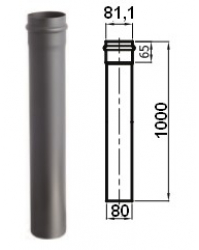 80mm dūmtraukis  granulinėms krosnelėms (ilgis - 1m)